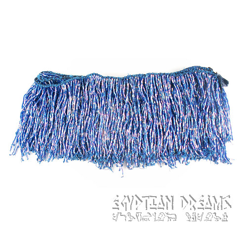 Blue Beaded Fringing (Short)