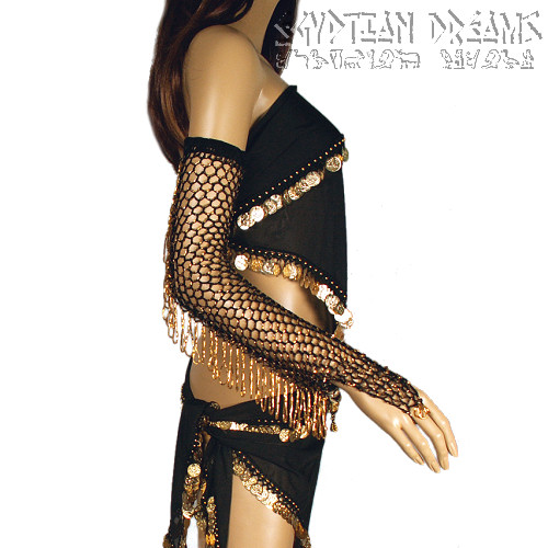 Beaded and Fringed Gloves (Gold)