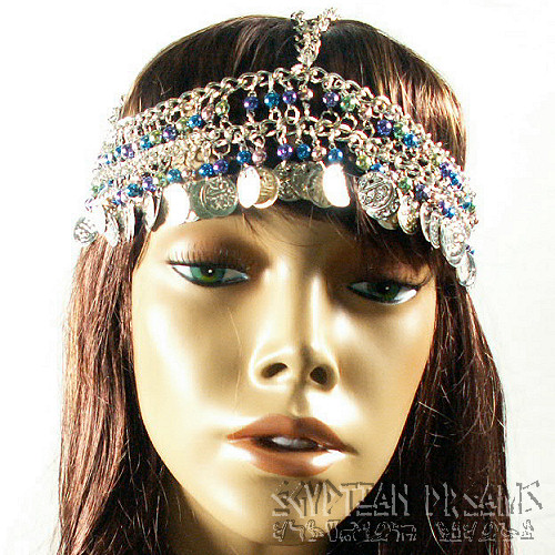Beaded and Coined Headdress (Silver)