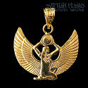 18k gold winged Isis pendant. This wonderful winged Isis pendant is hand made in Egypt from 18 carat gold.