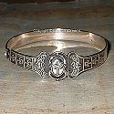 Egyptian silver scarab and ankh bracelet. Hand made in Egypt.