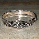 Egyptian silver winged Isis bracelet. Hand made in Egypt.