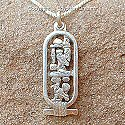 Egyptian silver cartouche of Cleopatra pendant. Hand made in Egypt.