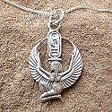 Egyptian silver Isis pendant. Hand made in Egypt.