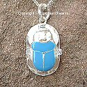 Egyptian silver enamelled scarab pendant. Hand made in Egypt.