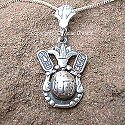 Egyptian silver scarab with cartouches pendant. Hand made in Egypt.
