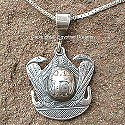 Egyptian silver Scarab and Serpents pendant. Hand made in Egypt.