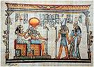 Hand painted papyrus of Amentet, Re-Horakhty, Horus and Hathor