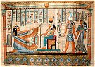 Hand Painted Papyrus of Isis, Ma'at, Horus and Hathor