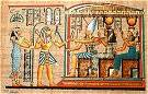 Hand Painted Papyrus of Osiris, the goddess Isis and the goddess Hathor.
