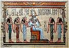 Hand Painted Papyrus of Osiris and five goddesses