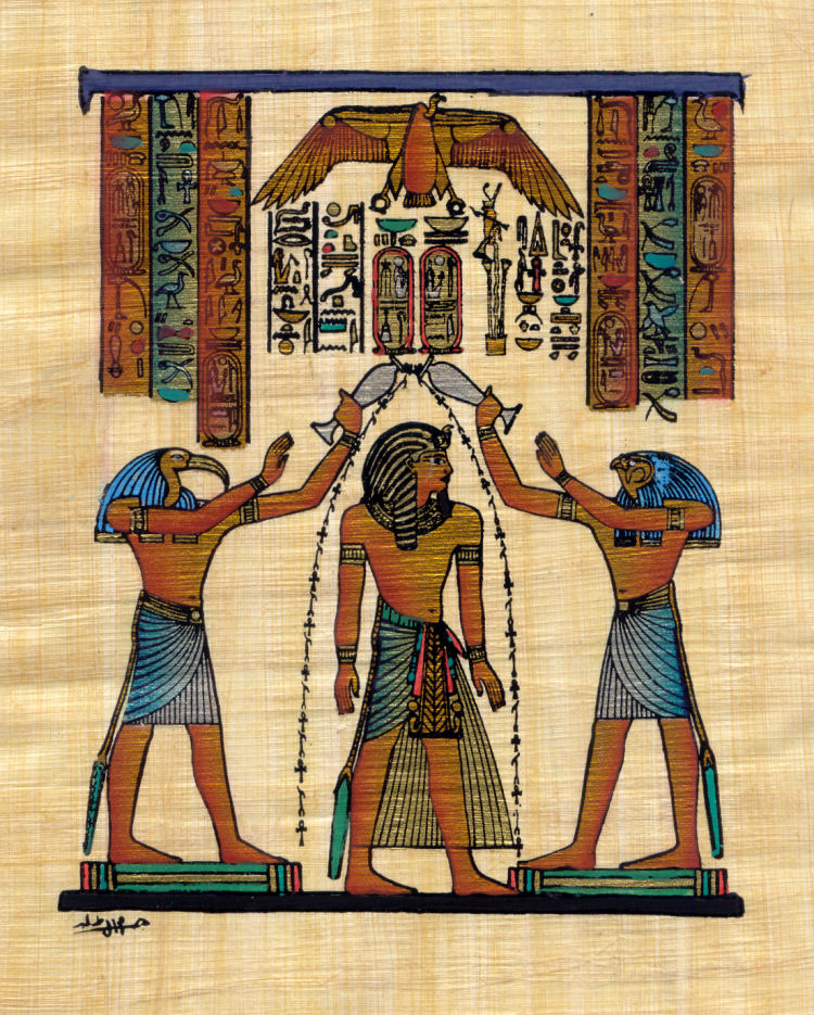 Ramesses III, Horus and Thoth - 30cm x 20cm